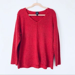 Eileen Fisher Red V-Neck Cozy Wool Sweater